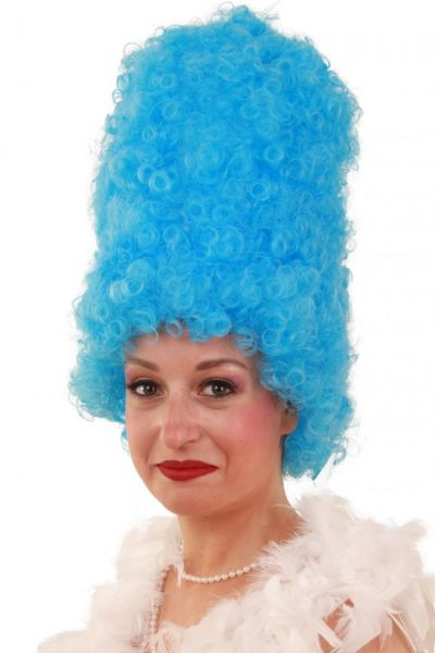 Lustige Perücke Geschweift hoch blau