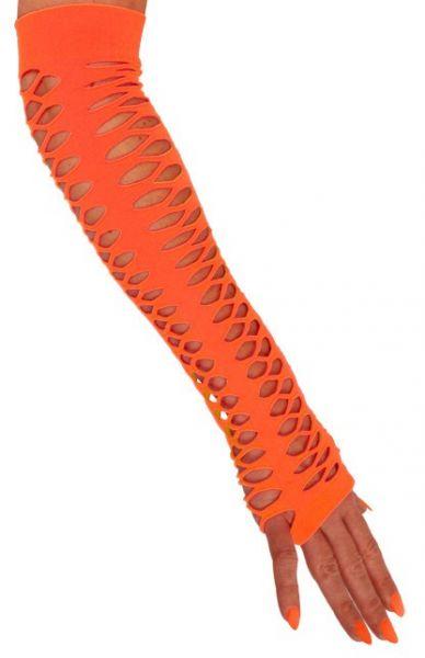 Handschuhe fingerlose große Löcher Orange