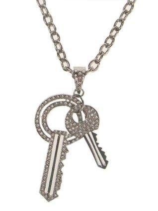 Strass Halskette mit 2 Schlüssel