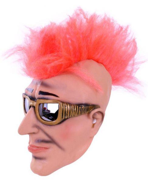 Maske Punk Rocker mit Sonnenbrille und Hahnenkamm