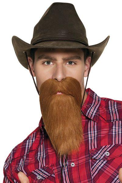 Bart mit Schnurrbart braun Cowboy