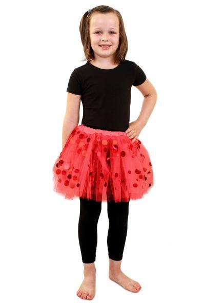 Tüllrock rot mit Punkten Mädchen