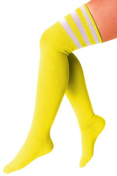 Kniestrümpfen gelb mit 3 weißen Streifen