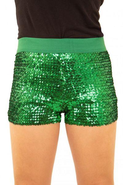 Hotpants mit Pailletten grün