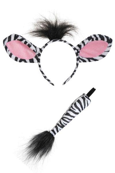 Zebra Haarband mit Schwanz