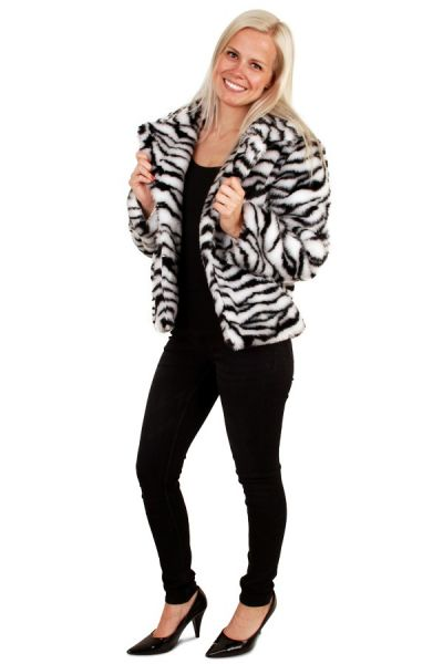 Kurzer Zebra-Print Pelzmantel weißer Tiger