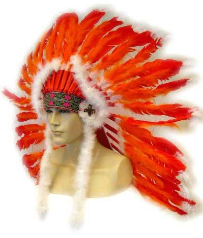 Indianer Kopfschmuck rot - orange mit weißen Schwänzen