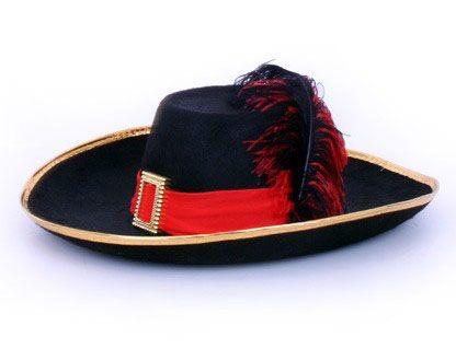 Musketier Hut mit schwarz mit rotem Band und Feder