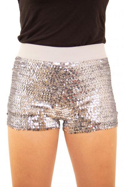 Hotpants mit Pailletten Silber
