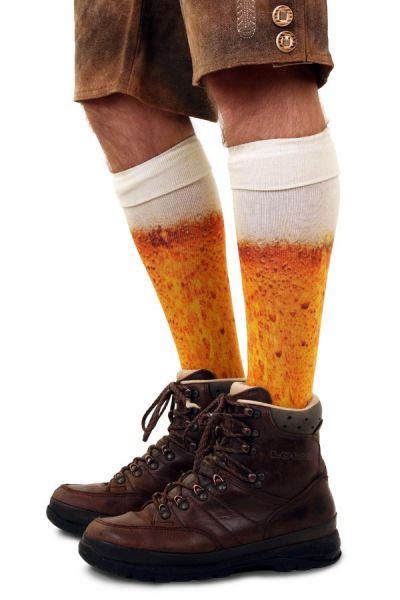 Kniestrümpfe mit Bier Druck Socken Strümpfe Karneval Verkleidung Party lustig Oktoberfest