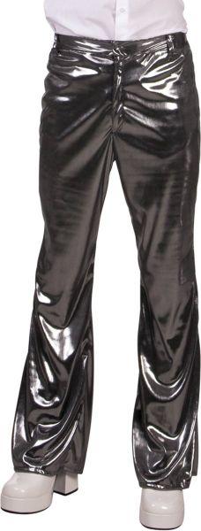 Glänzende silberne Disco-Hose aus den Achtzigern und Neunzigern