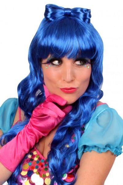 Perücke Lauren lange blaue Haare
