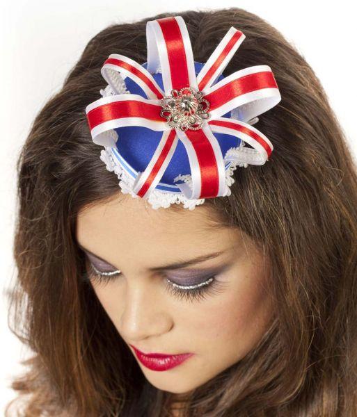 Krone Luxus mit Haarspangen rot weiß blau