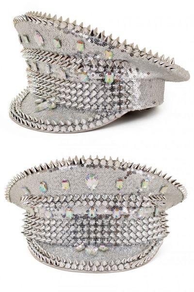 Glänzende Bling Spikes Silber kappe