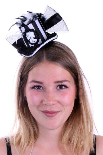 Mini Schwarz weiss Hut mit Federn und Tüll Cameo