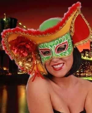 Venezianische Augenmaske mit Hut Dame Fasching
