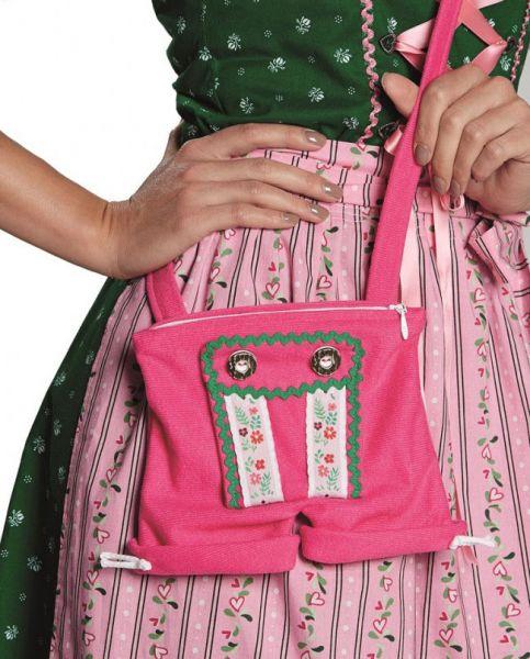 Oktoberfest Tiroler Hose Lederhose Tasche rosa