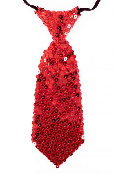 Krawatte mit roten Pailletten kurz rot