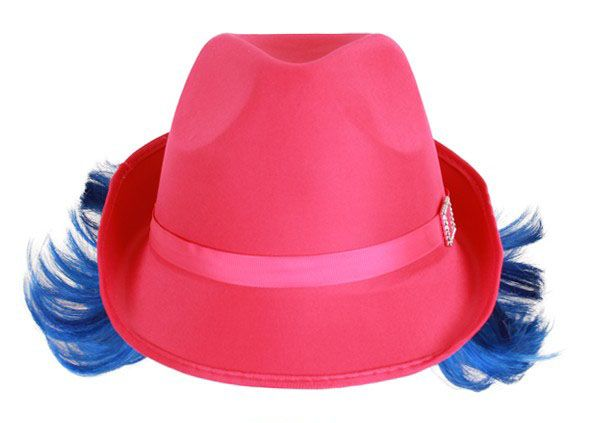 Delle Hut rosa mit blauen Haaren