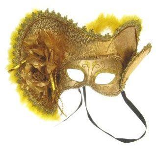 Venezianischer Hut mit Augenmaske Gold mit Hut