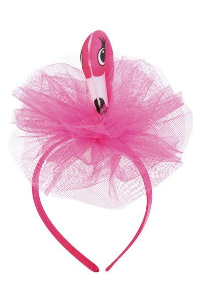Diadem rosa Flamingo mit Tüll tropischen Fest