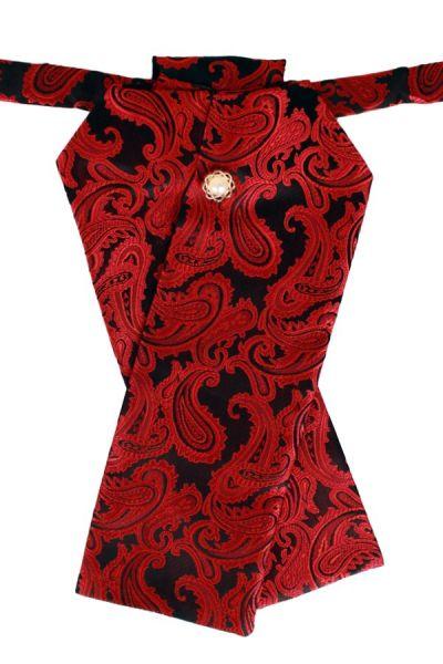 Stock Krawatte Brokat Stoff schwarz rot Jabot