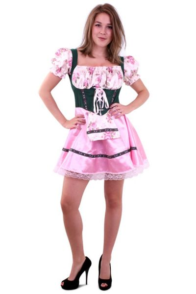 Oktoberfest Dirndl Kleid grün rosa mit Blumen