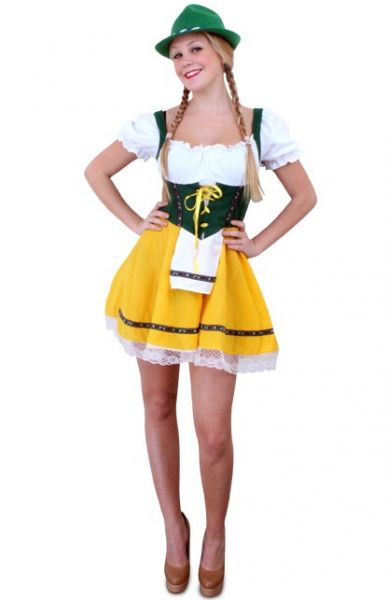 Oktoberfest Dirndl kurzes Kleid gelb grün