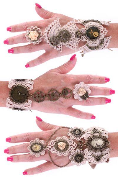 3 Steampunk Armbänder Spitze mit Ring