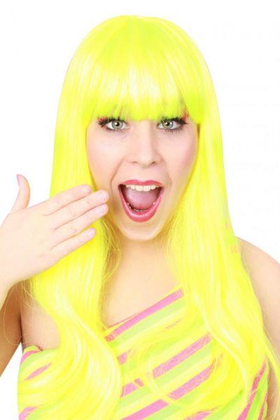 Damen-Perücke trendy lange gelbes fluor Haar