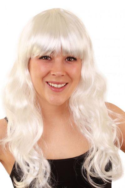 Perücke lange glatte Haare Damen Perücke weiß Sensation