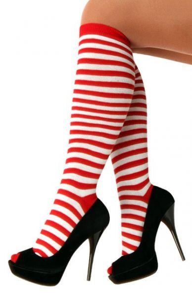 Socken rot weiß gestreift