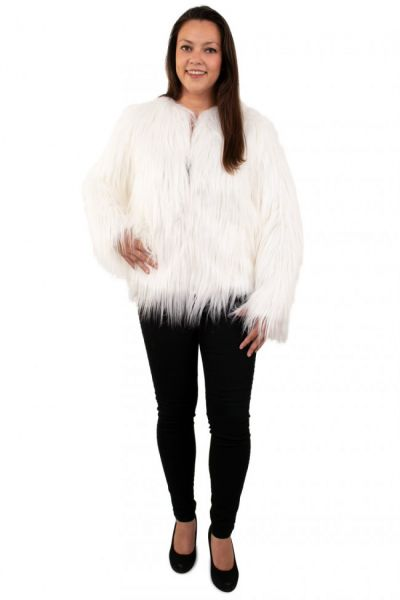 Langer Damen Pelzmantel weiß mit Licht