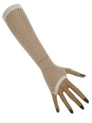 Netzhandschuhe lang fingerlos weiß