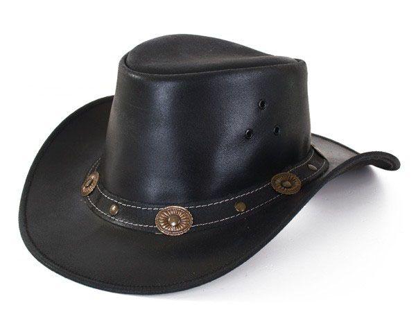 Leder schwarzer Cowboyhut