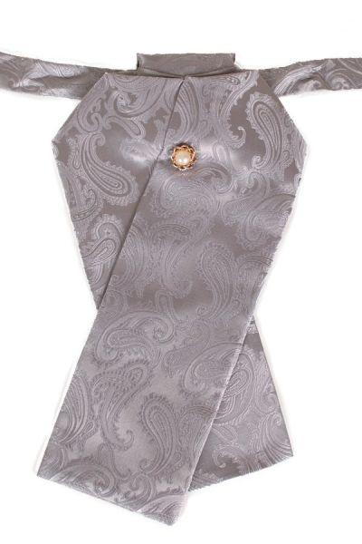 Stock Krawatte Brokat Stoff hellgraues Silber Jabot