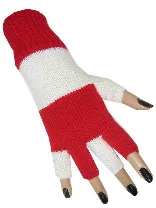 Fingerlose Handschuhe rot weiß gestreift