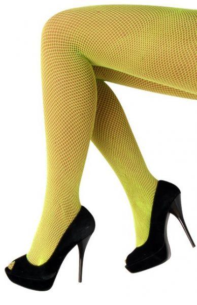 Netzstrumpfhose fluo gelb