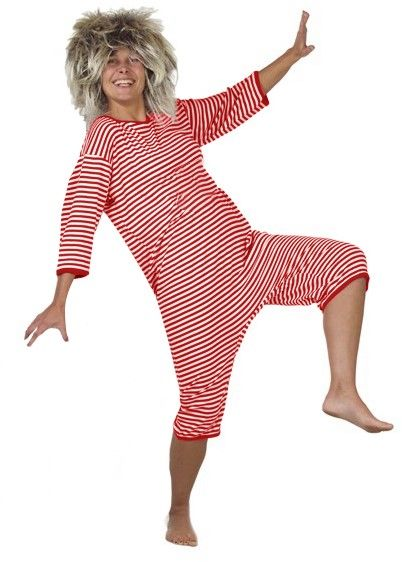 Lustiger Badeanzug rot weiß gestreift