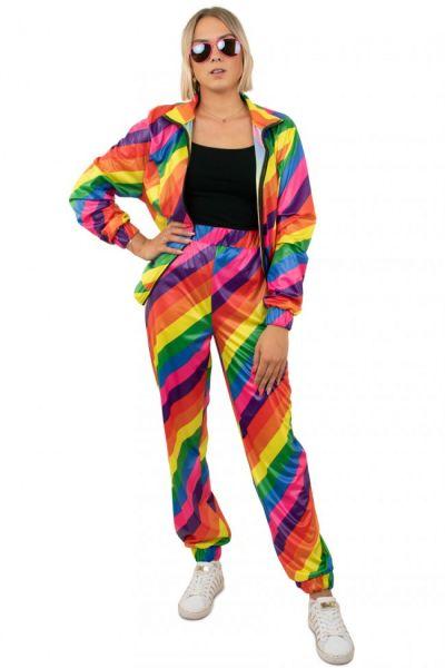 Trainingsanzug 80er Jahre Disco Regenbogen Girl