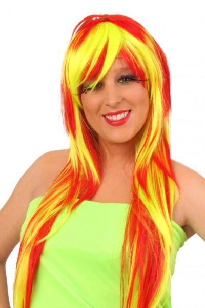 Damen Perücke Lola lange rote gelbe Schnüre
