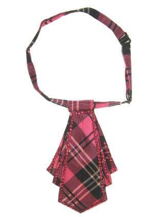 Mini rosa karierte Krawatte mit Steinen