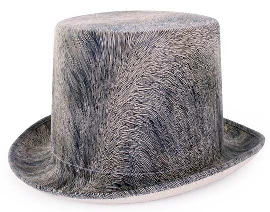 Steampunk Hut haarig grau mit Gummiband