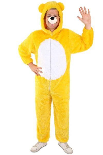 Gelbes Bärenkostüm mit weißem Bauch