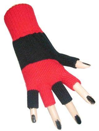 Fingerlose Handschuhe schwarz rot gestreift