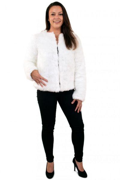 Damen Pelzmantel weiß mit Licht