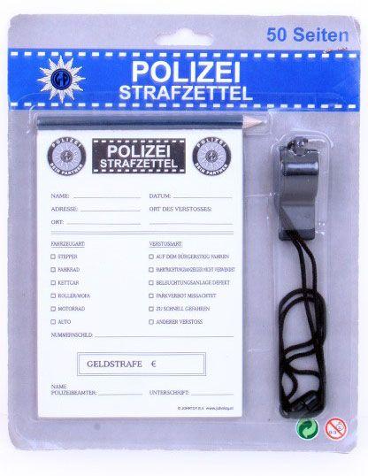 Polizei strafzettel mit Bleistift und flöte