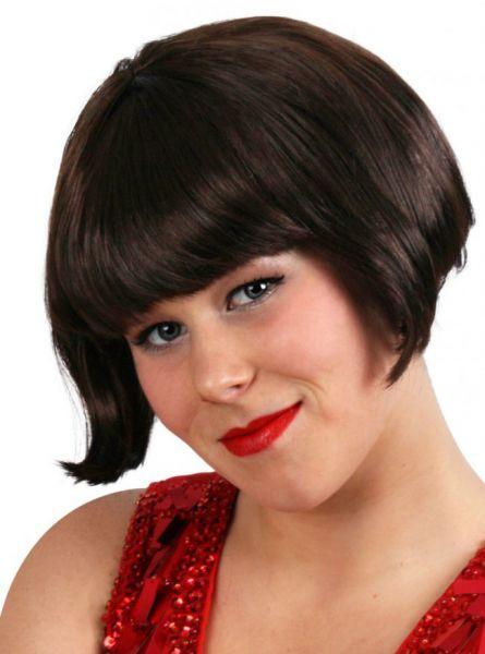 Kurze braune glatte Haare Perücke