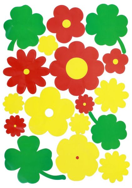 Fasching Fensteraufkleber Blumen rot gelb grün