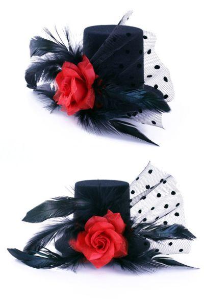 3 Mini-Hüte schwarz mit Rose auf Nadel